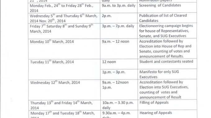 UNN SUG Election TimeTable for 2013/2014 Session