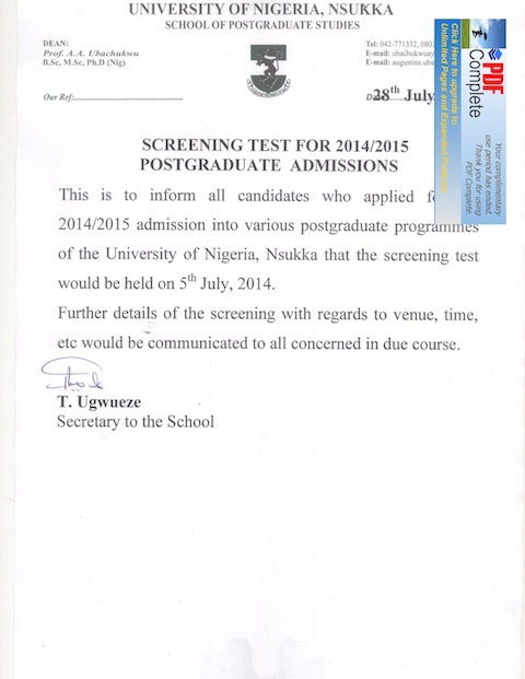 unn postgraduate screening test date venue
