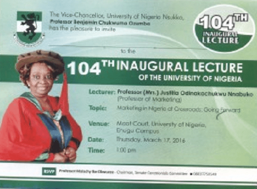 UNN 104th Inaugural Lecture Holds On 17th March