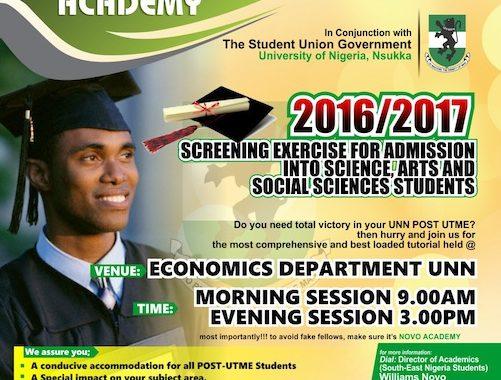 Novo Academy 2016/2017 Post Utme/Screening Tutorial Now In Progress