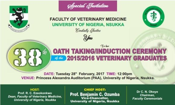 INVITATION: UNN Veterinary Medicine 38th Oath-Taking Ceremony