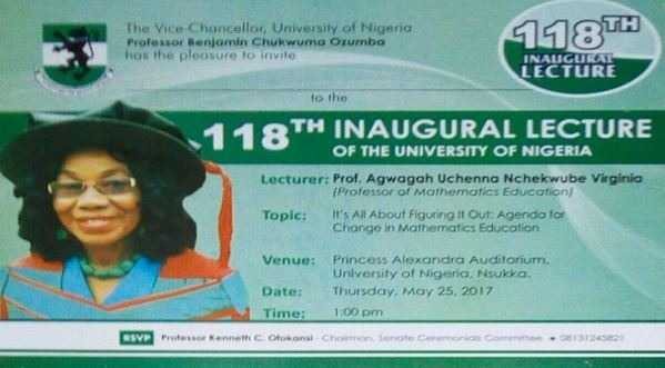 INVITATION: 118th Inaugural Lecture By Professor Agwagah Uchenna