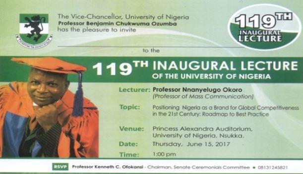 UNN 119th Inaugural Lecture By Professor Nnanyelugo Okoro