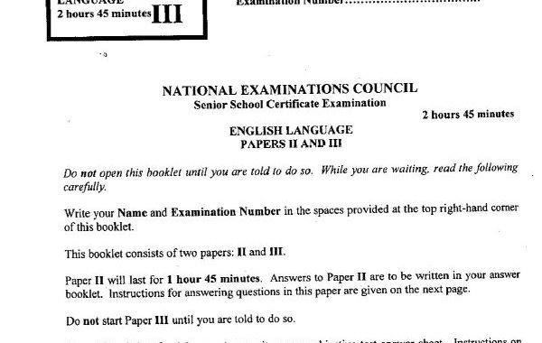 NECO English 2017 Questions & Answers for Essay Obj Oral Released