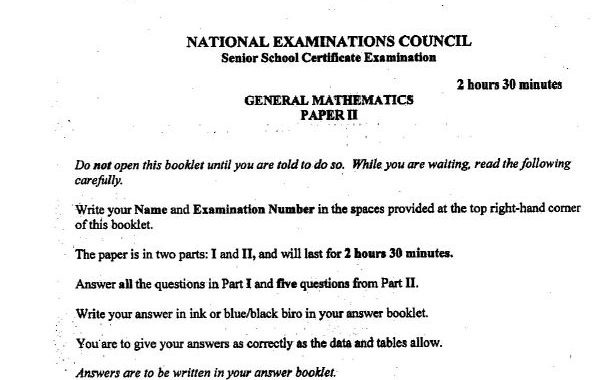 NECO Mathematics Answer 2019 for Essay & Objectives is Out