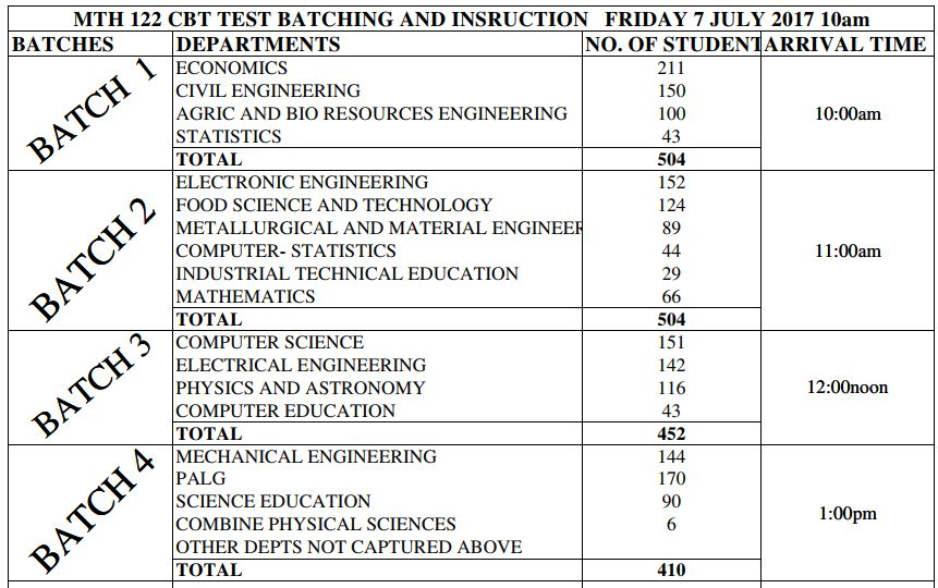 Just In Mth 122 Cbt Test To Hold Friday July 7 See Schedule