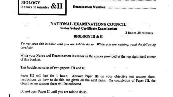 NECO GCE 2017 Biology Answers for Obj-Theory is Out