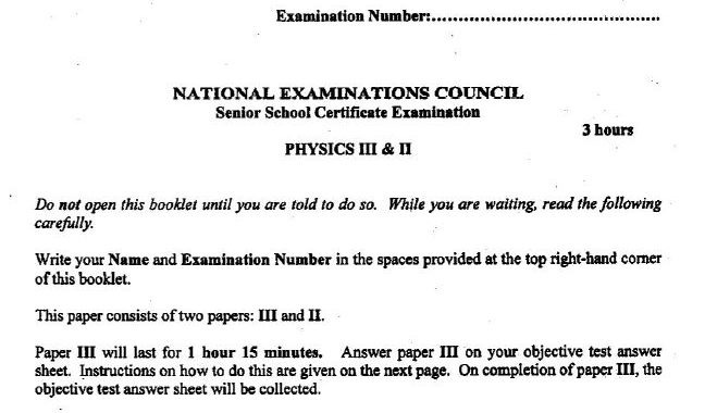 NECO 2017 Physics Questions & Answers for Obj-Theory Released