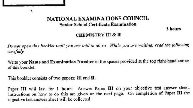 NECO GCE Chemistry 2018 Answers is Out [OBJ/Theory]