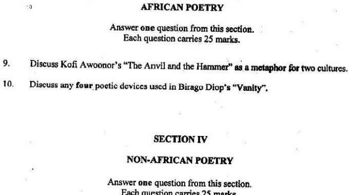 NECO GCE Literature in English 2018 [Obj, Prose – Drama & Poetry] Answers