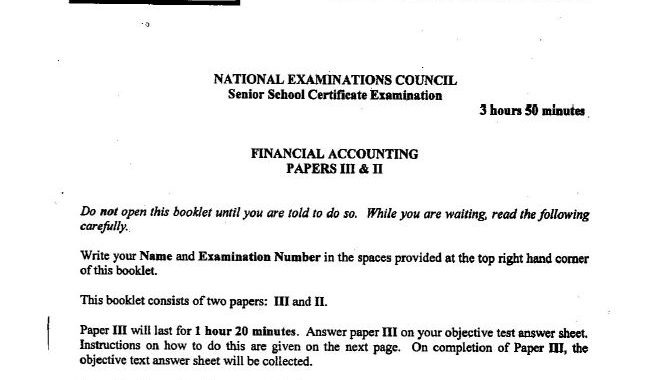 NECO GCE Financial Accounting 2017 Questions & Answers (Theory-Obj) Out