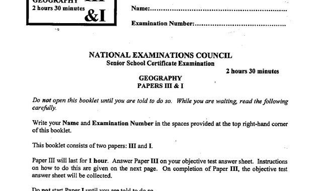 NECO GCE Geography 2017 Questions for Objective & Practical is Out