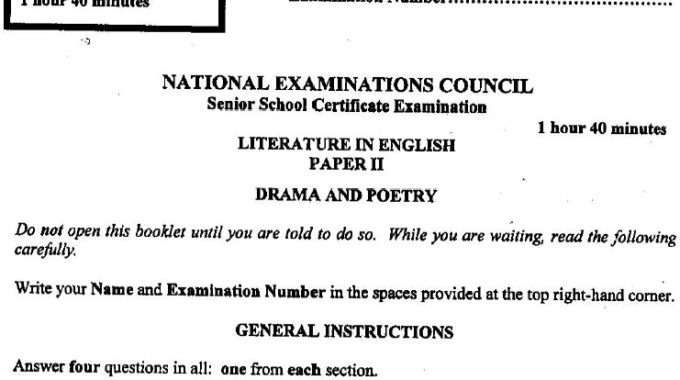 NECO GCE Literature Questions & Answers Objective & Prose 2017