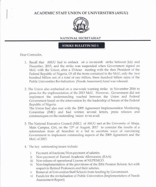 Academic Staff Union of Universities 2017 ASUU Indefinite strike Notice