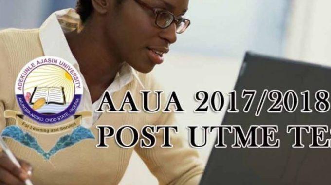 AAUA Post UTME & DE Form 2017: Cut off Mark, Registration Details