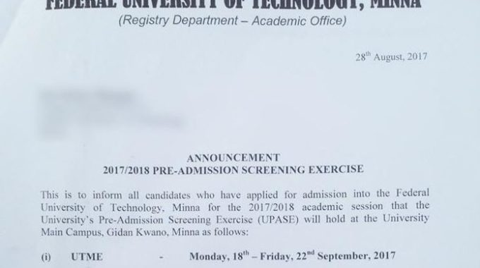 FUTMinna Post UTME & DE 2019: Cut off Mark & Exam Date Announced