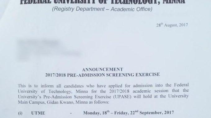 FUTMinna Post-UTME & DE Admission Screening 2017/18 Announced