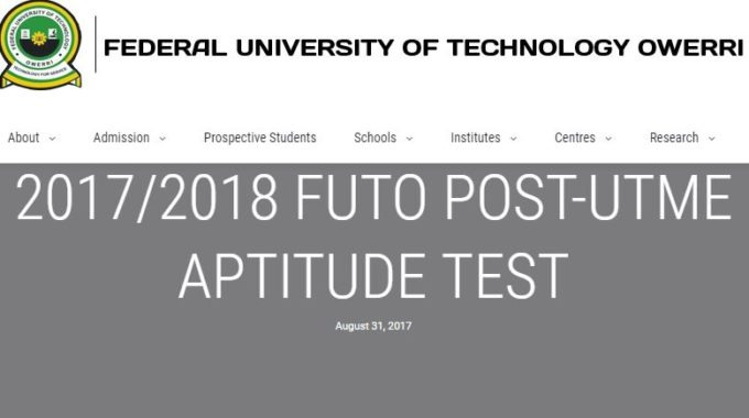 FUTO Post UTME 2017 Registration Form, Cut off Mark Requirements