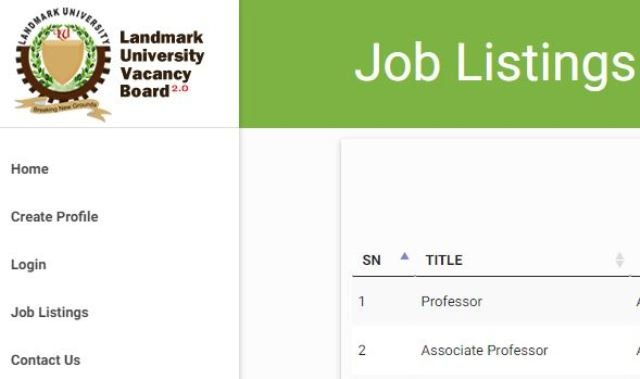 Landmark University Massive Recruitment 2017 Ongoing