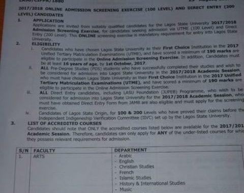 LASU Post UTME Form 2018: Cut off Mark & DE Screening Date Out