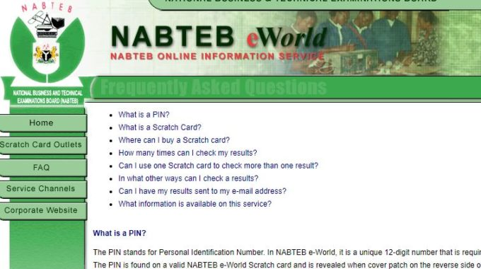 NABTEB Result Checker 2018 Out On eworld.nabtebnigeria.org