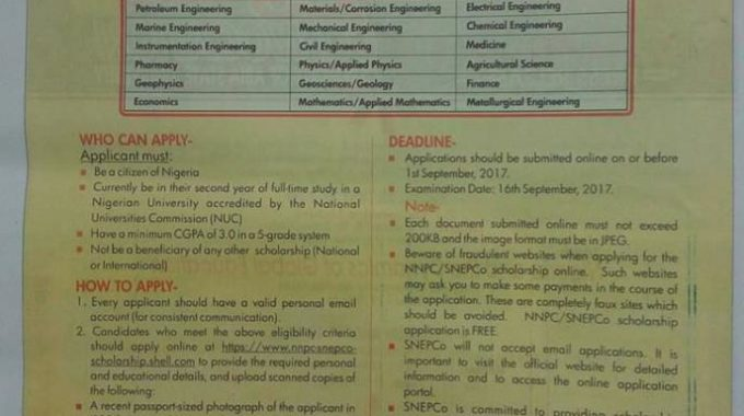 NNPC-SNEPCo Scholarship Application Form 2017 is Out