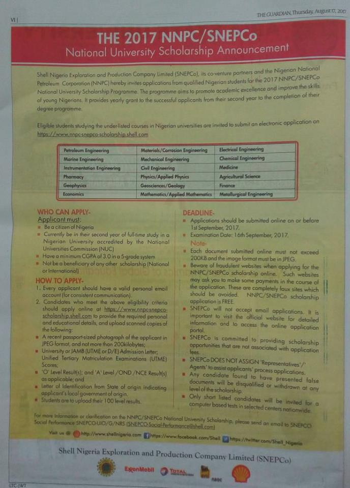 nnpc snepco scholarship form