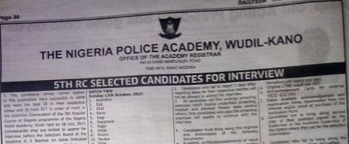 Nigeria Police Academy NPA List of Shortlisted Candidates 2017/18 Admission