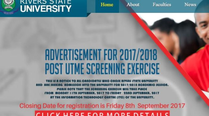 RSUST Post UTME Form for 2017/2018 Admission Screening is Out