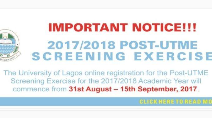 UNILAG Post-UTME Form 2017/2018: Cut-off Mark, Aptitude Test Date