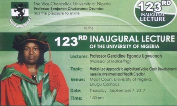UNN 123rd Inaugural Lecture By Professor Geraldine Ugwuonah