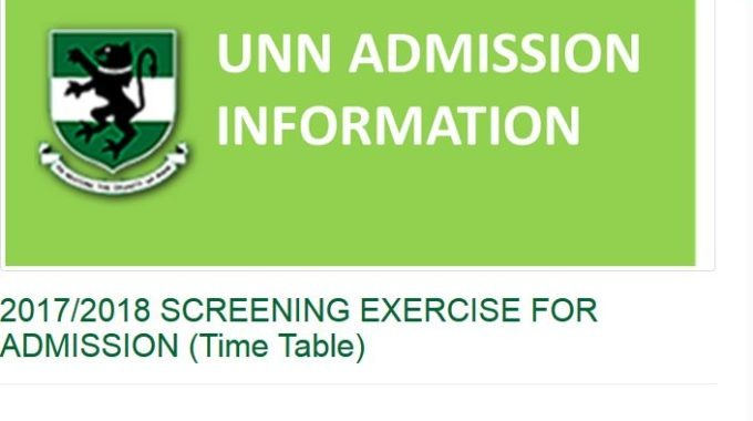 UNN Post-UTME 2017 Form: New Screening Date is Out [SEE SCHEDULE]