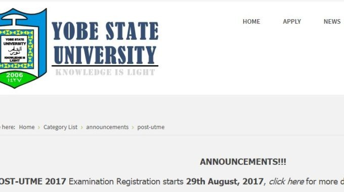 Yobe State University Post UTME & DE 2017 Form, Cut off Mark Announced