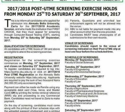 ABU Post Utme 2017 Registration Form, Cut off Mark & Screening Date