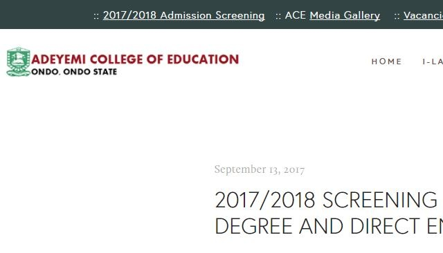 ACEONDO Degree Admission List 2017/2018 UTME [First Batch]