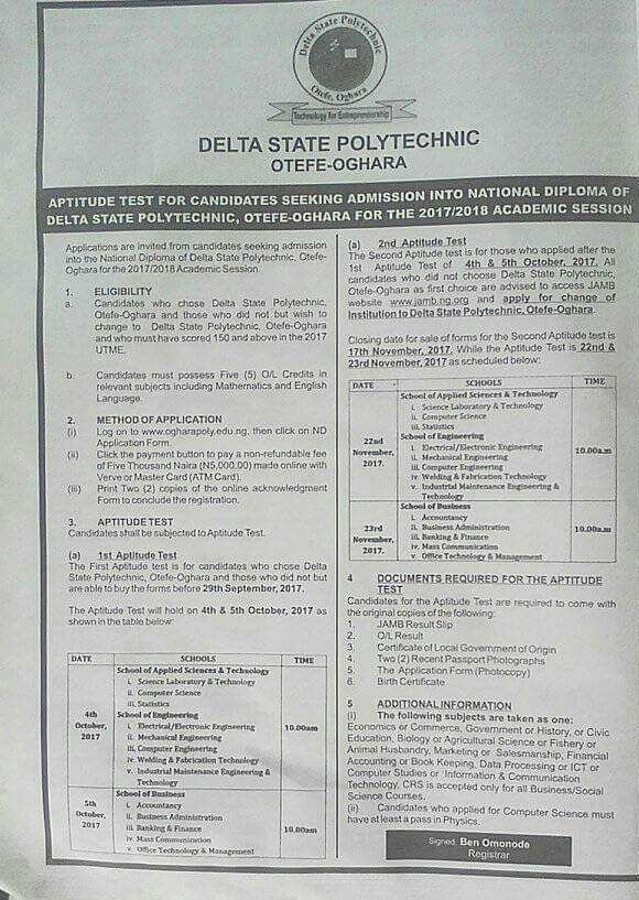 deltapoly otefe post utme 2017