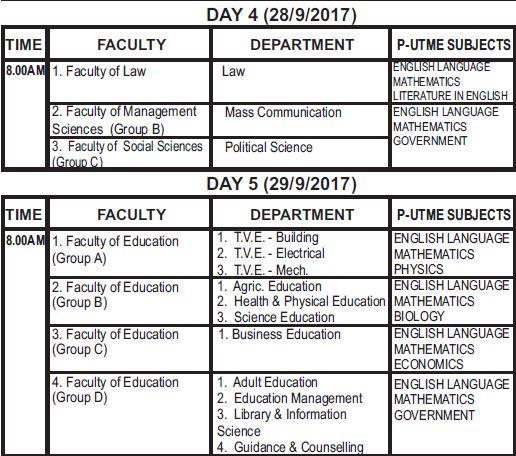 esut admission exam date 2017