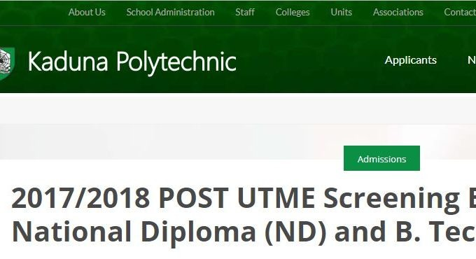KADPOLY Post UTME 2019: Form, Cut-off Mark & Screening Date