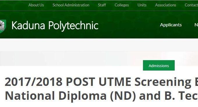 KADPOLY Post-UTME 2017: Form, Cut-off Mark & Screening Details