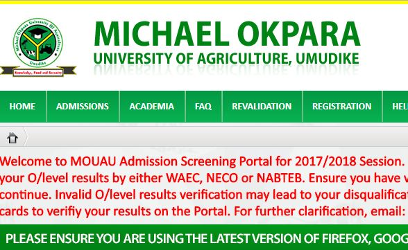 mouau post utme result 2017