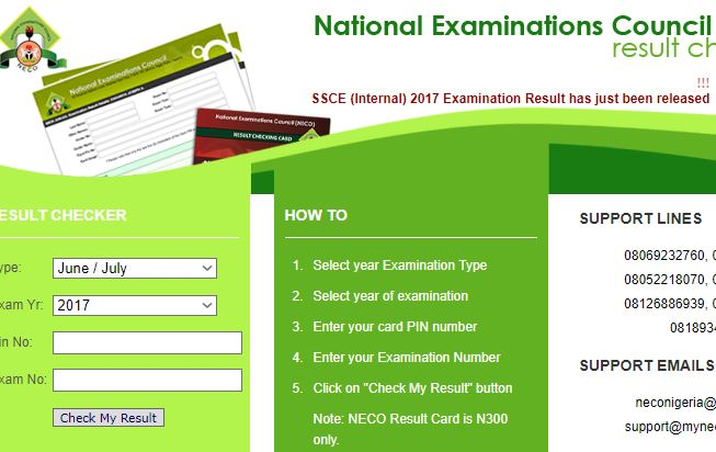 neco ssce result released