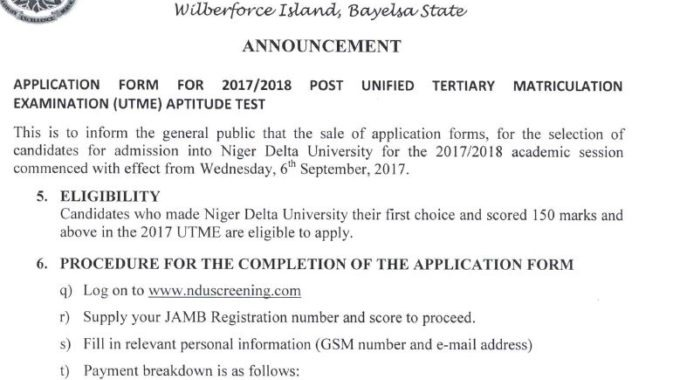 NDU Post UTME 2017 Form, Cut-off Mark & Screening Date