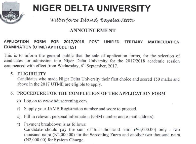 niger delta university post utme