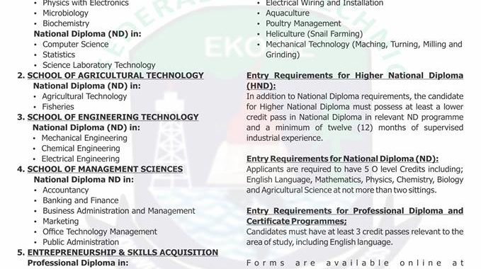 Fed Poly Ekowe HND & ND Admission Application Form 2017/18 is Out