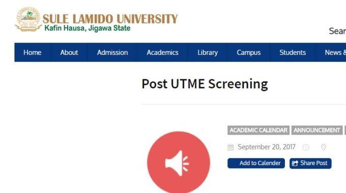 Sule Lamido University UTME & DE Admission List 2017/18 is Out