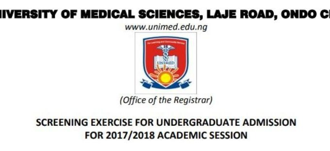 UNIMED Ondo Post Utme 2017 Form, Cut off Mark & Screening Date