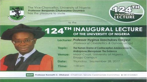 Invitation To UNN 124th Inaugural Lecture by Prof. Hyginus Ezegwui