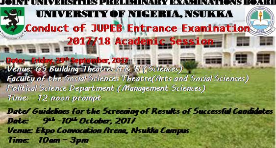 UNN Announce 2017/18 JUPEB Entrance Exam Date & Schedule