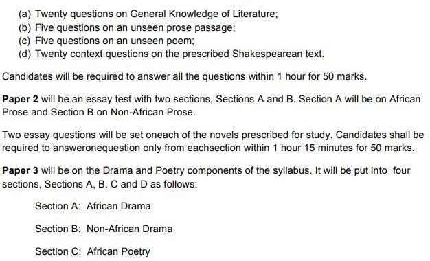 WAEC Literature 2019 Answers [Drama & Poetry] is Out
