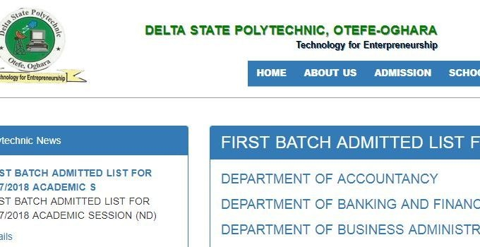 Delta Poly Otefe-Oghara DESPO Admission List 2017/18 [ND 1st Batch]